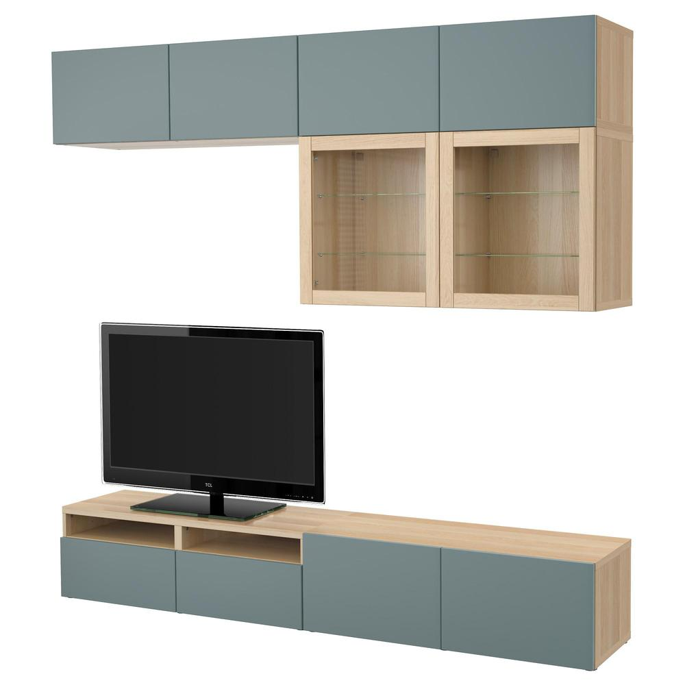 Ikea Tv Kast Grijs.Besto Tv Cabinet Combin Glass Doors Under Bleached Oak