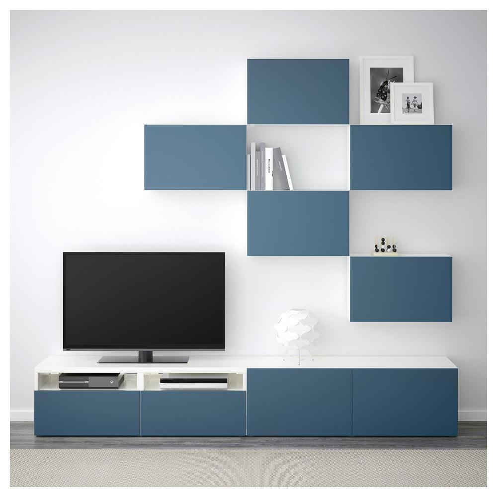 besto tv-schrank, kombination - weiß / valviken dunkelblau