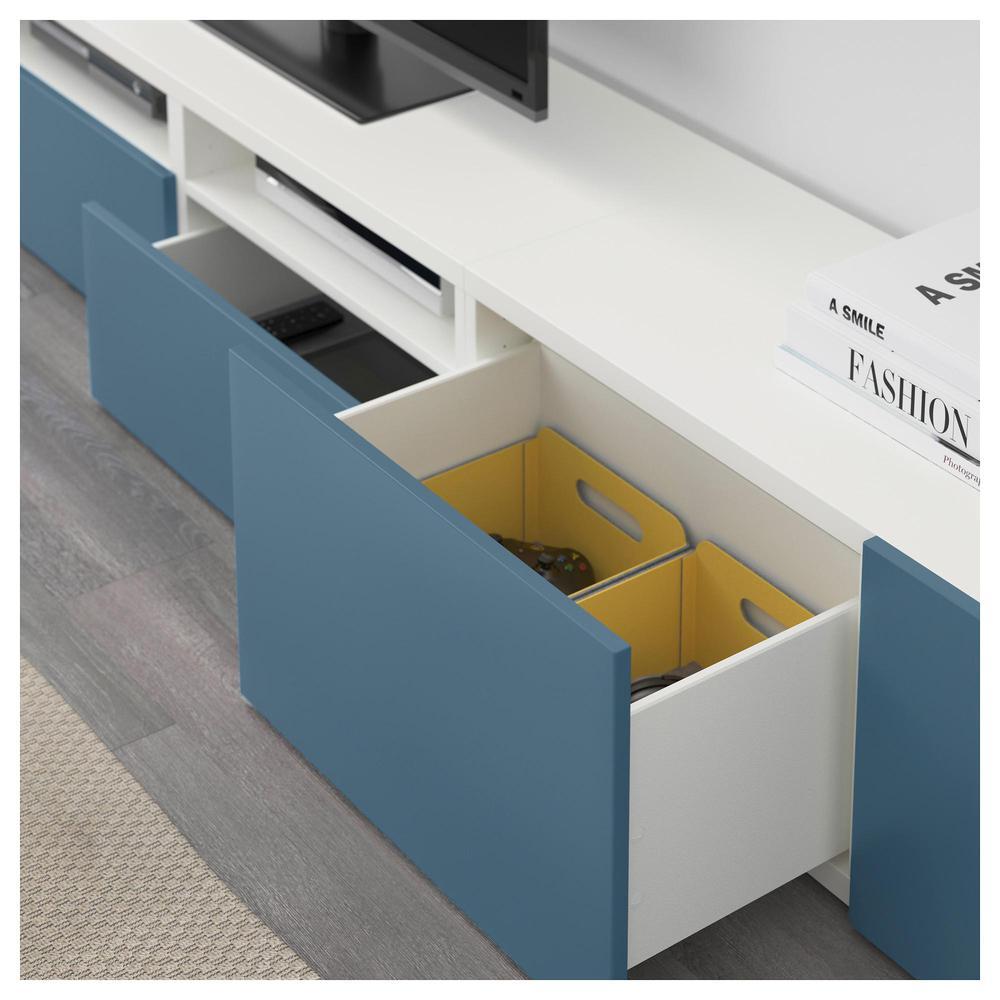 Meuble Ikea Besta Blanc bestÅ combinaison meuble tv - blanc / valviken bleu foncé, des rails de  boîte, en douceur fermer