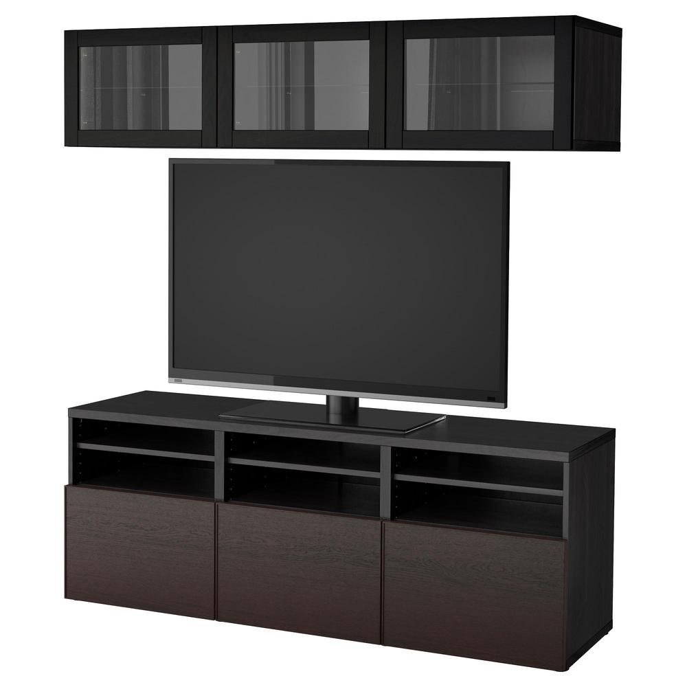 besto tv schrank kombiniert glast ren schwarz braun. Black Bedroom Furniture Sets. Home Design Ideas