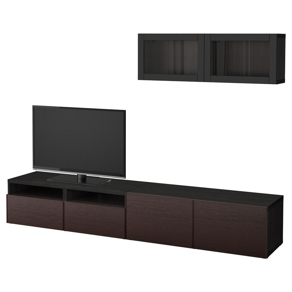 besto tv schrank kombiniert glast ren schwarz und braun sindwick inviken schwarz braunes. Black Bedroom Furniture Sets. Home Design Ideas