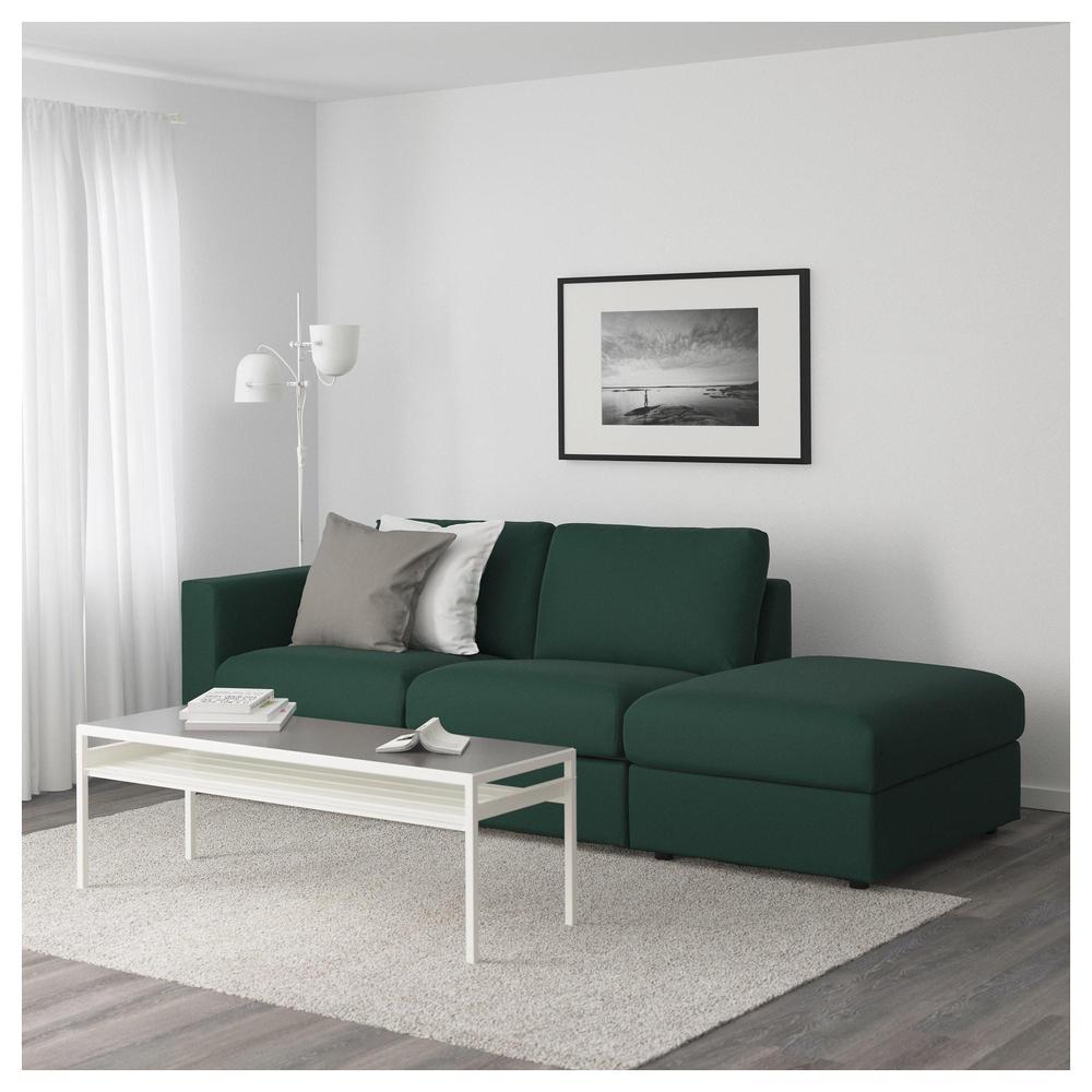 Vimle 3 Sofa Local Con Un Extremo Abierto Gunnared Verde Oscuro