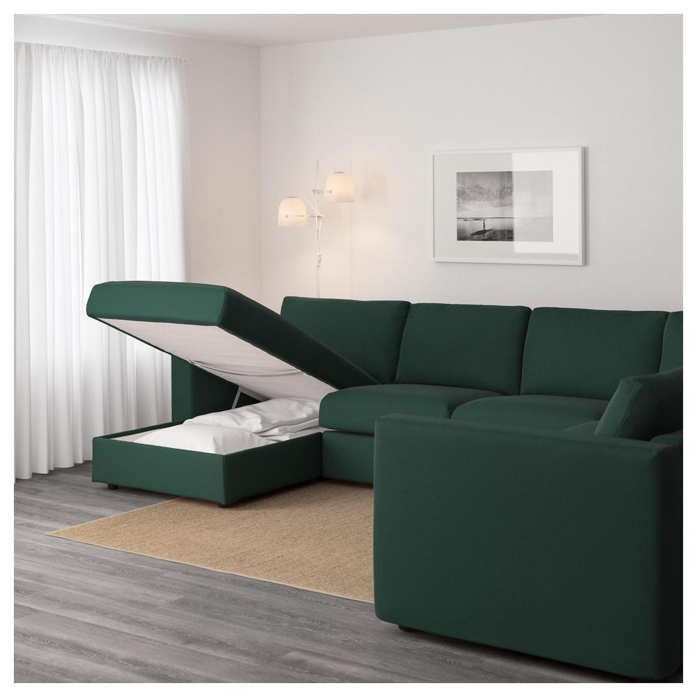 VIMLE 5-local corner sofa - with a goat / Gunnared dark green
