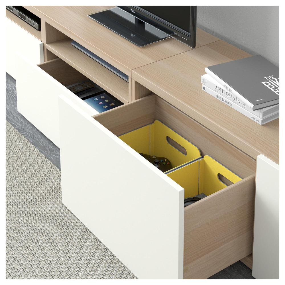 besto tv schrank kombination gebleicht eiche lappviken wei schubladen f hrer push ups. Black Bedroom Furniture Sets. Home Design Ideas