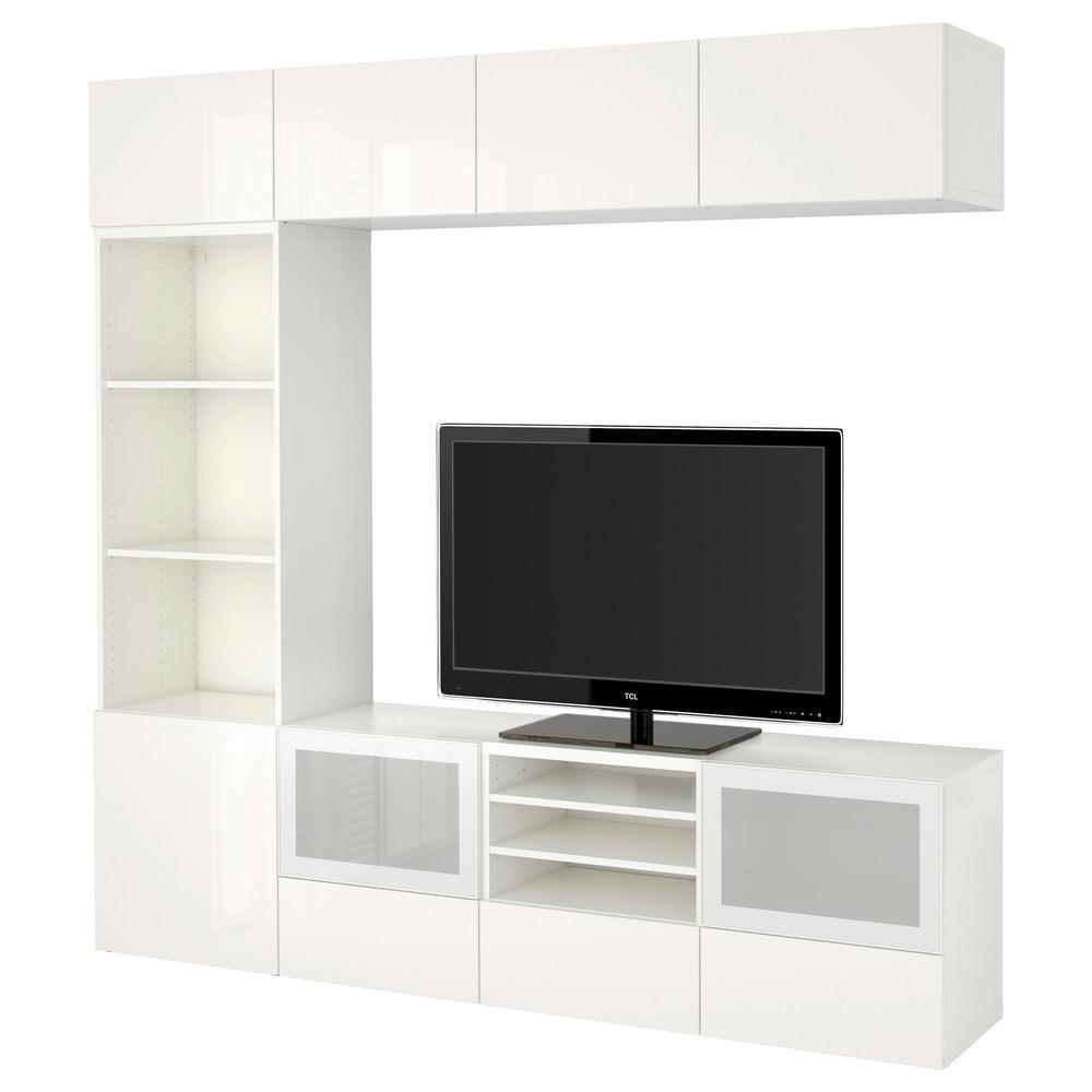 Bessto Gabinete Para Tv Combin Puertas De Cristal Blanco  # Mueble Taquilla Ikea