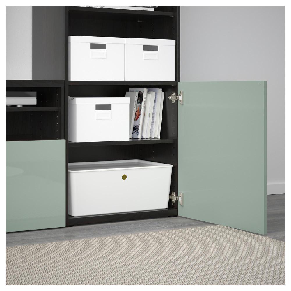 bisto meuble de t l vision combin portes en verre noir marron selsviken brillant gris. Black Bedroom Furniture Sets. Home Design Ideas