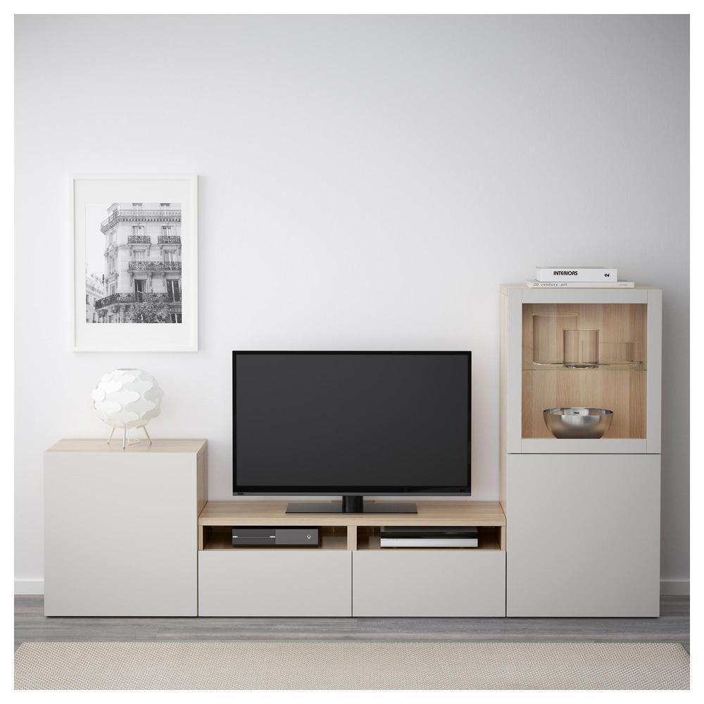 Armadio tv besto porte combinate vetro rovere sbiancato lappviken vetro trasparente - Guide per cassetti ikea ...