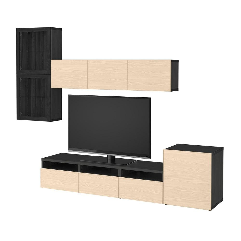 besto tv schrank kombiniert glast ren schwarz und braun sindwick inviken eschenfurnier. Black Bedroom Furniture Sets. Home Design Ideas