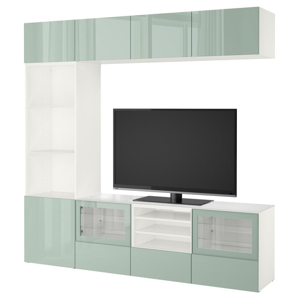 Besso Cabinet Pour Tv Combin Portes En Verre Blanc Selswiken  # Meuble Tv Vert