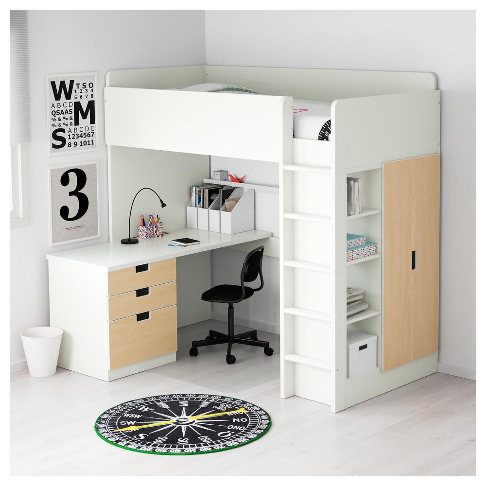 STUVA Bett-Dachboden / 3 Schublade / 2 Türen - weiß / Birke (392.272 ...