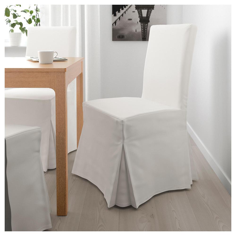 HENRIKSDAL Sedia con copertura lunga Blekinge bianco, rovere