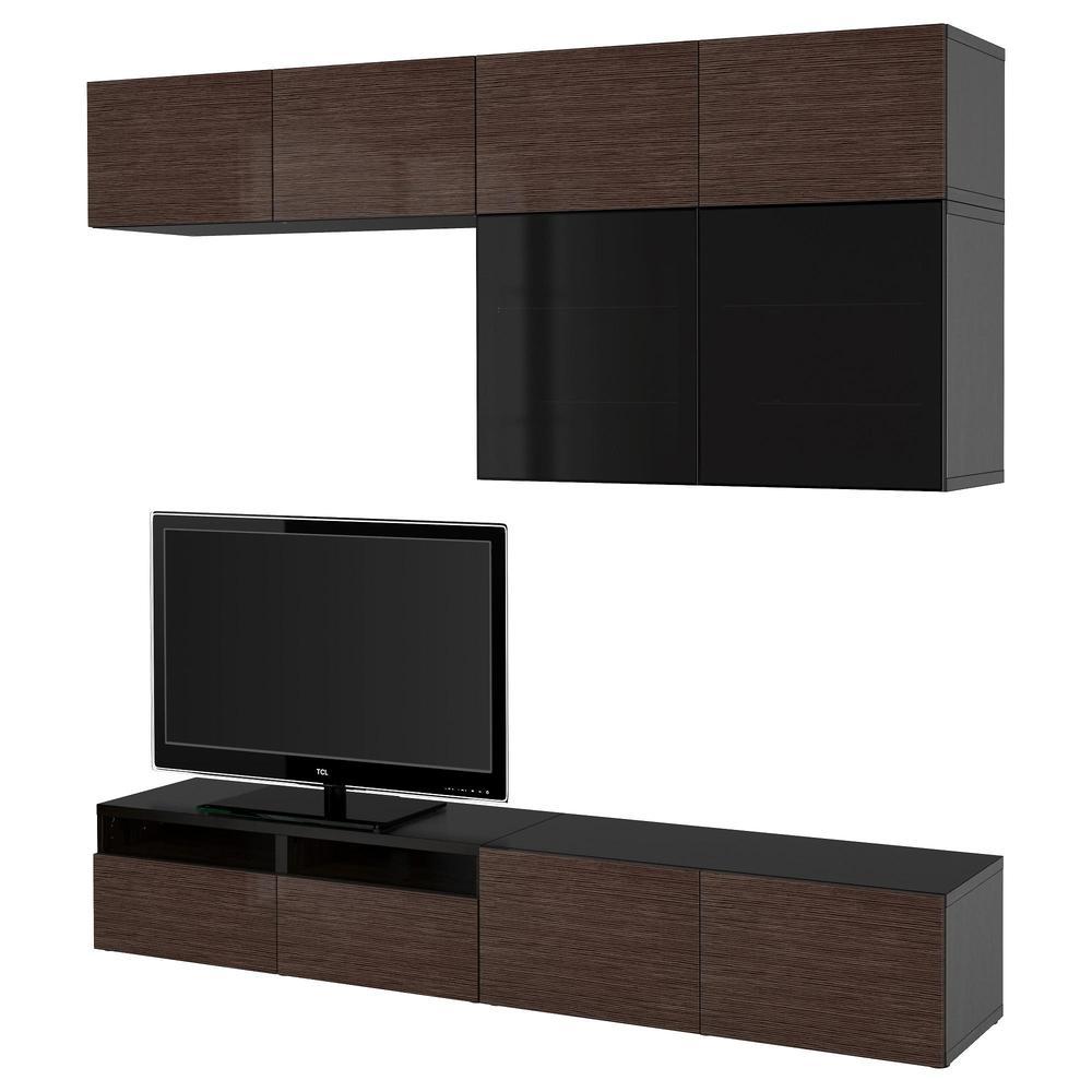 Bessto Cabinet For Tv Combin Glass Doors Black Brown
