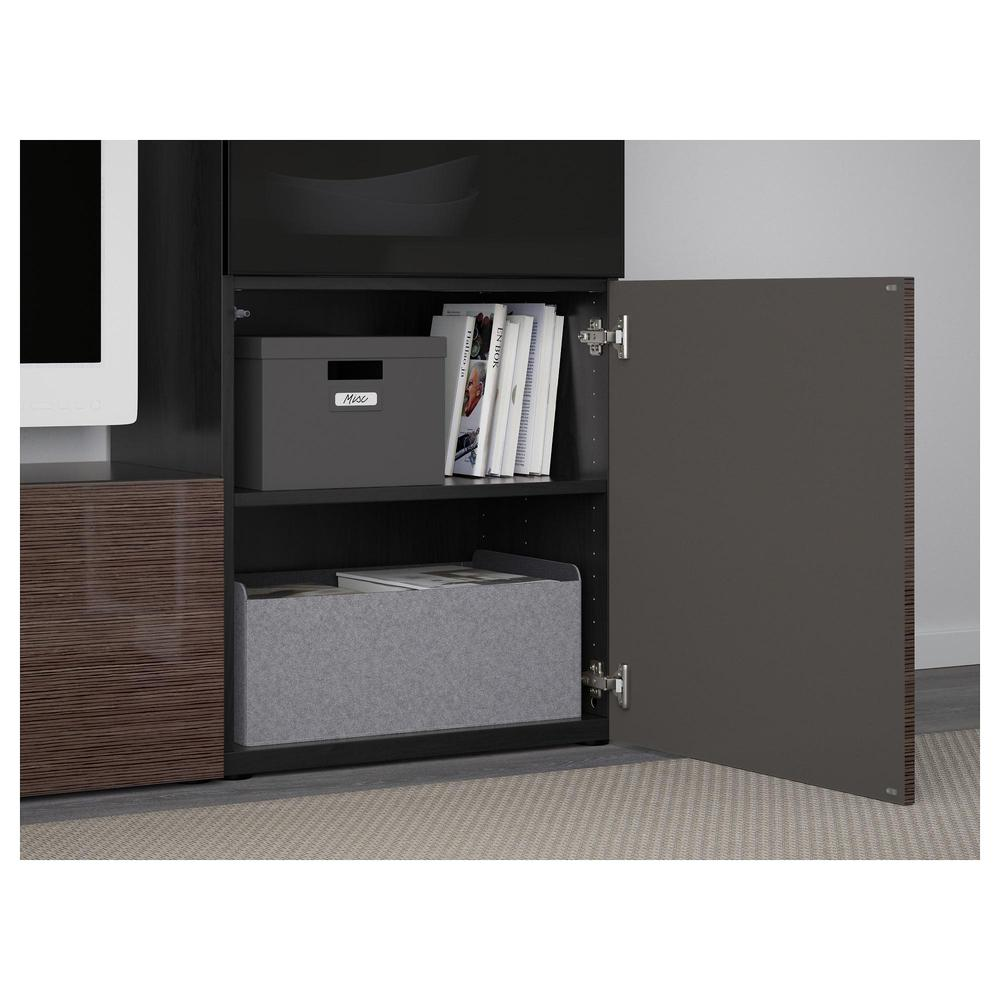 bessto schrank f r tv kombiniert glast ren schwarz braun selsviken gl nzend braun. Black Bedroom Furniture Sets. Home Design Ideas