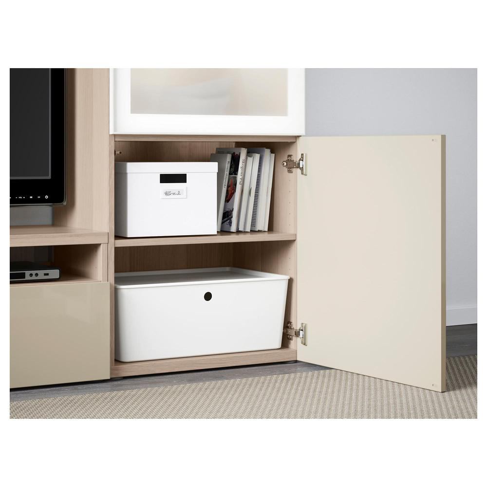 besto tv schrank kombiniert glast ren unter gebleicht eiche selsviken gl nzend beige. Black Bedroom Furniture Sets. Home Design Ideas