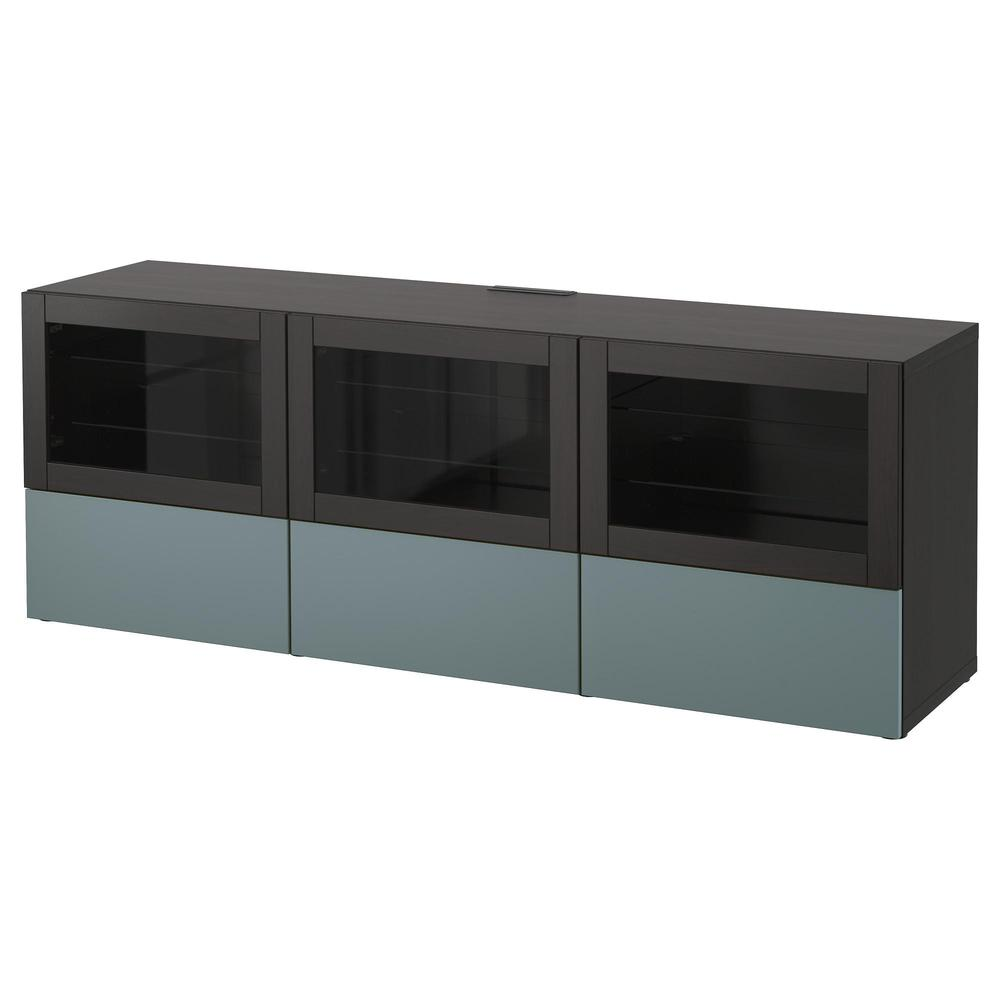 Besta Meuble Tv Avec Portes Et Tiroirs Brun Noir Gris Turquoise Valviken Verre Transparent Guides De Tiroir Pousser