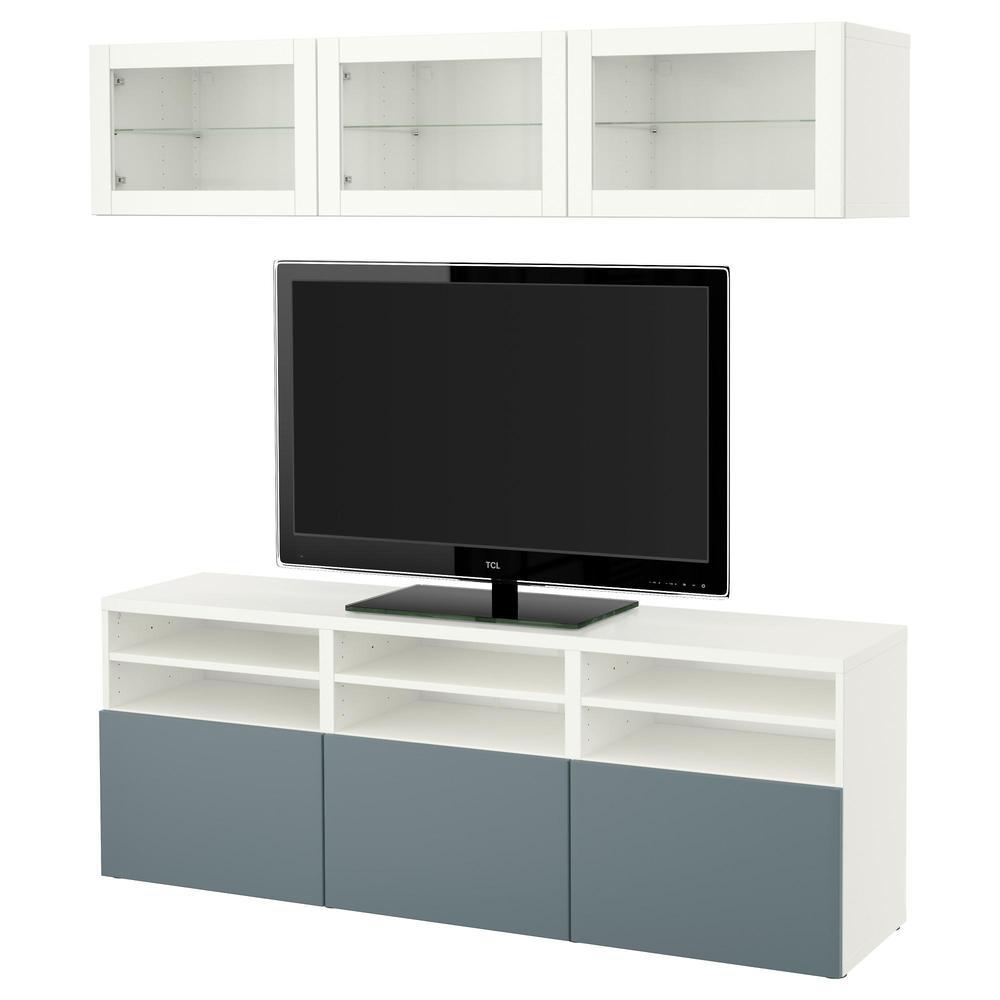 Bessto Cabinet Pour Tv Combin Portes En Verre Blanc  # Meuble Tv En Verre