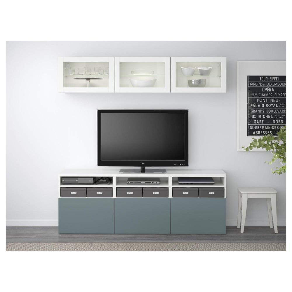 Bessto Cabinet Pour Tv Combin Portes En Verre Blanc  # Meuble Tv Gris Et Blanc