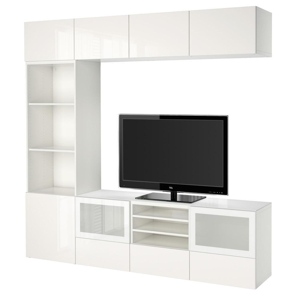 Meuble Ikea Besta Blanc bestÅ meuble tv, combinÉ / porte en verre - blanc / selsviken brillant /  verre dépoli blanc, boîte rails, poussée