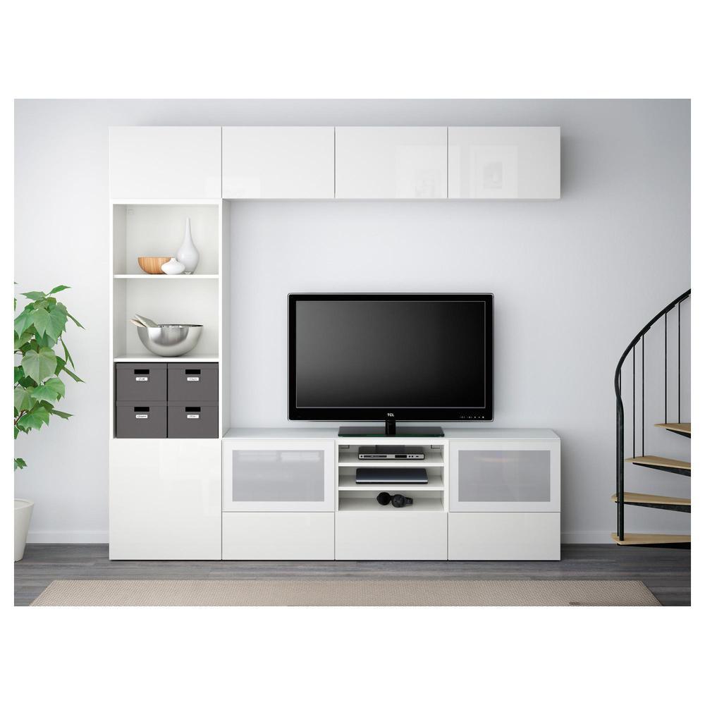 Besta Tv Cabinet Combined Glass Door White Selsviken Gloss White Frosted Glass Box Rails Push