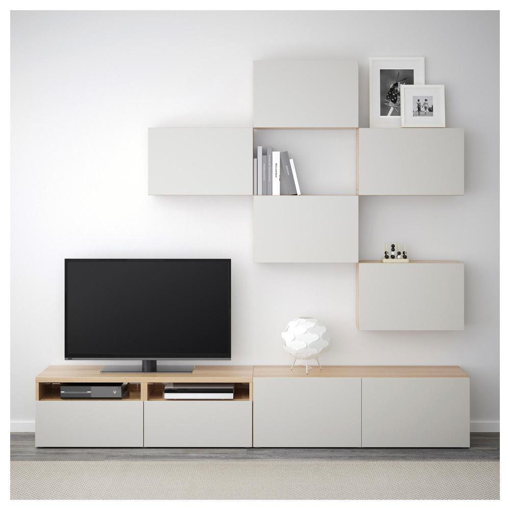 Mueble Tv Besto Combinaci N Roble Blanqueado Gris Claro  # Mueble Taquilla Ikea
