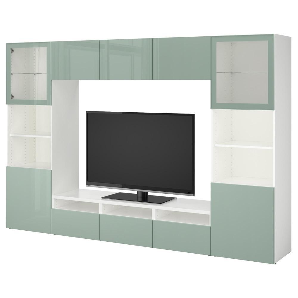 Wit Tv Meubel Glans.Besta Tv Meubel In Combinatie Glazen Deur Wit Selsviken Hoogglans Grijs Groen Licht Transparant Glas Ladegeleiders Sluit Voorzichtig