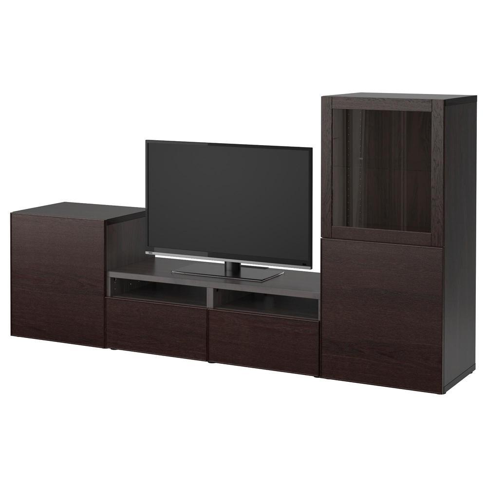 Cabinet BESTO TV, vetro combinato / vetro - marrone-marrone Sindwick ...