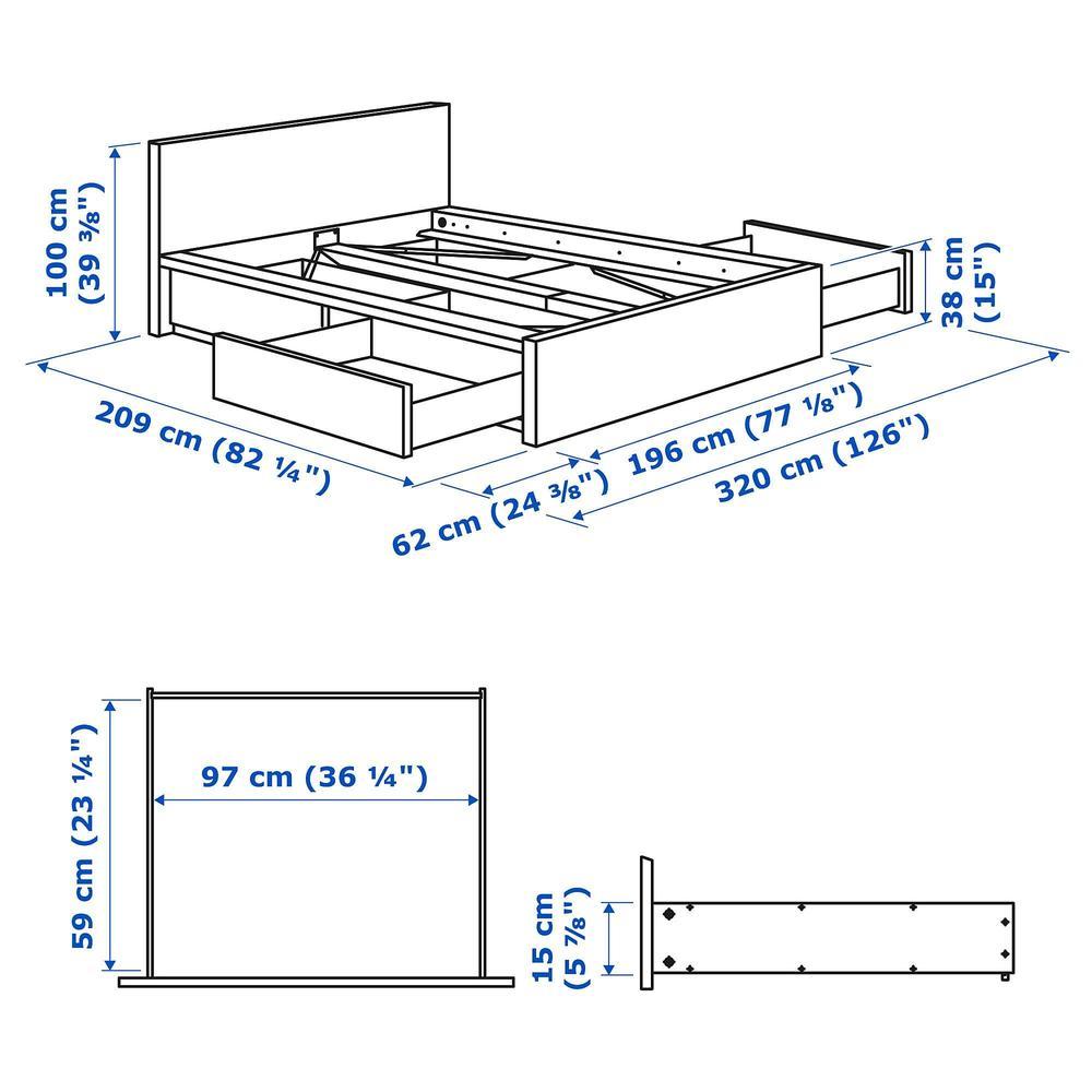 MALM Cama alta / 4 caja - 180x200 cm, - (592.109.11) - opiniones ...