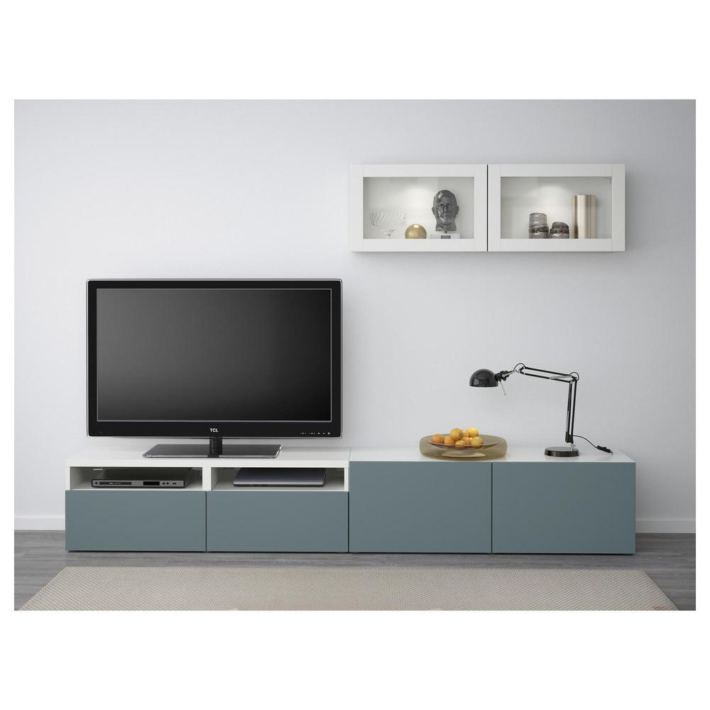 Glaze Tv Meubel.Besta Tv Meubel In Combinatie Glazen Deur Wit Grijs Turquoise Valviken Transparant Glas Ladegeleiders Push