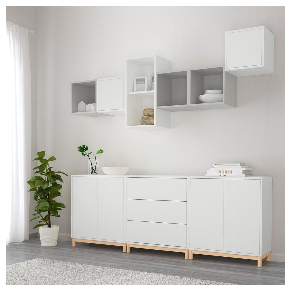 Eket Combination Of Cabinets With Legs White Light Gray 691910