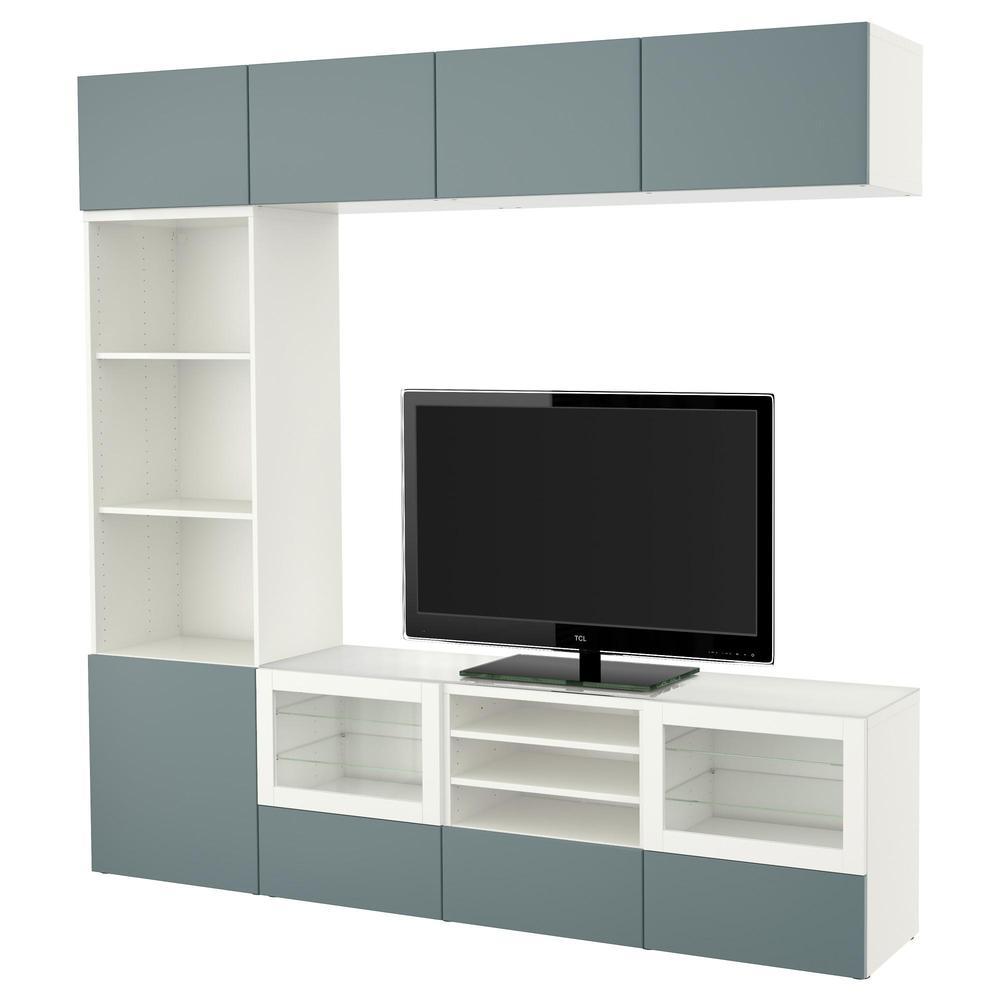 BESTO TV Schrank, Kombiniert / Glastüren - weiß / Valviken grau ...