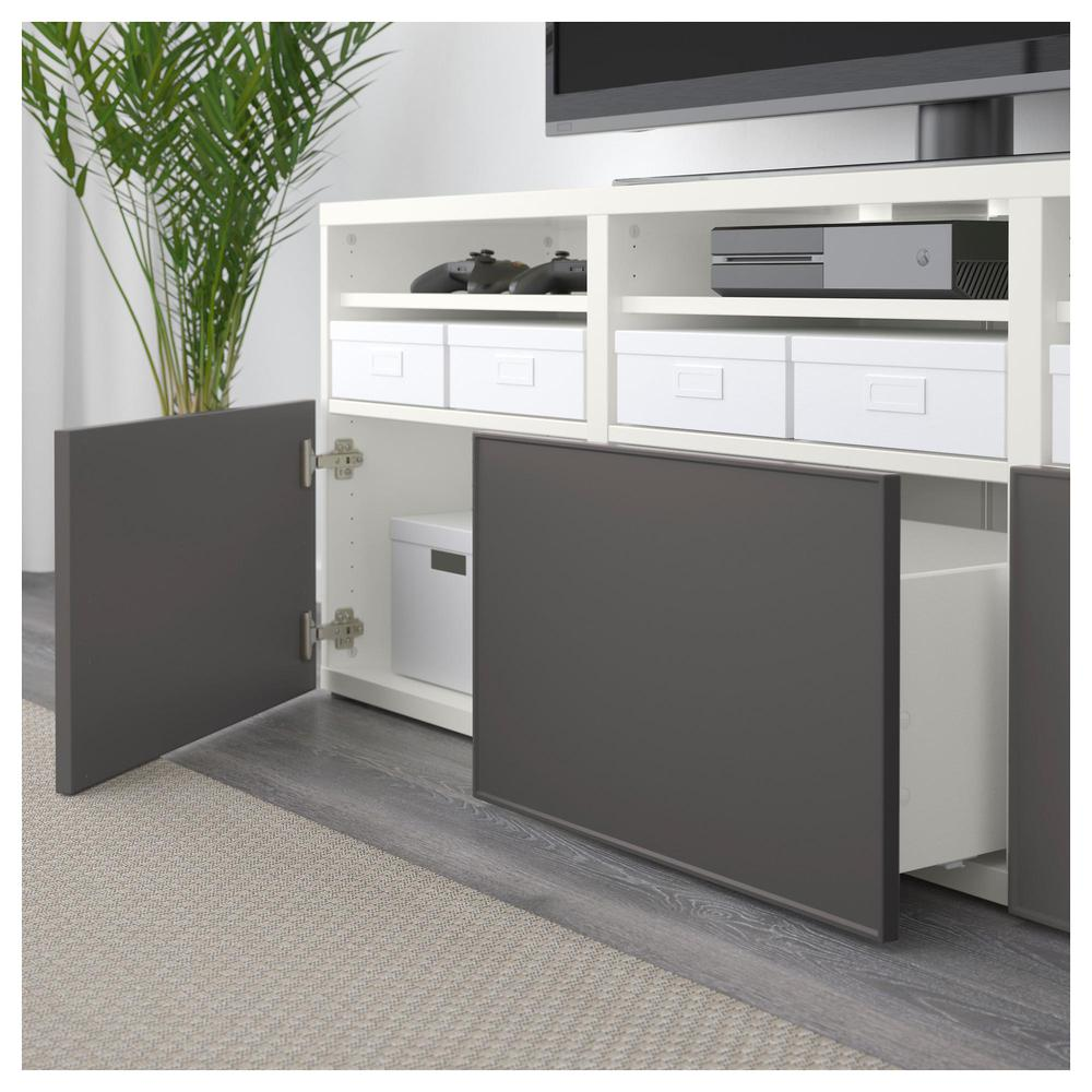 bessto schrank f r tv kombinierte glast ren wei grundsviken dunkelgrau transparentes. Black Bedroom Furniture Sets. Home Design Ideas