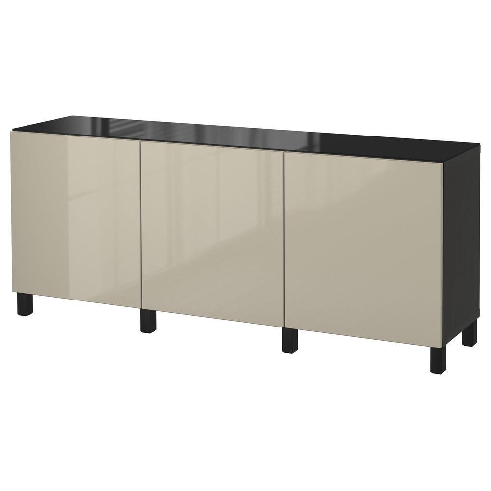 Table Haute Avec Rangement combinaison de rangement bestÅ avec portes - noir-brun / haute brillance  selsviken / beige