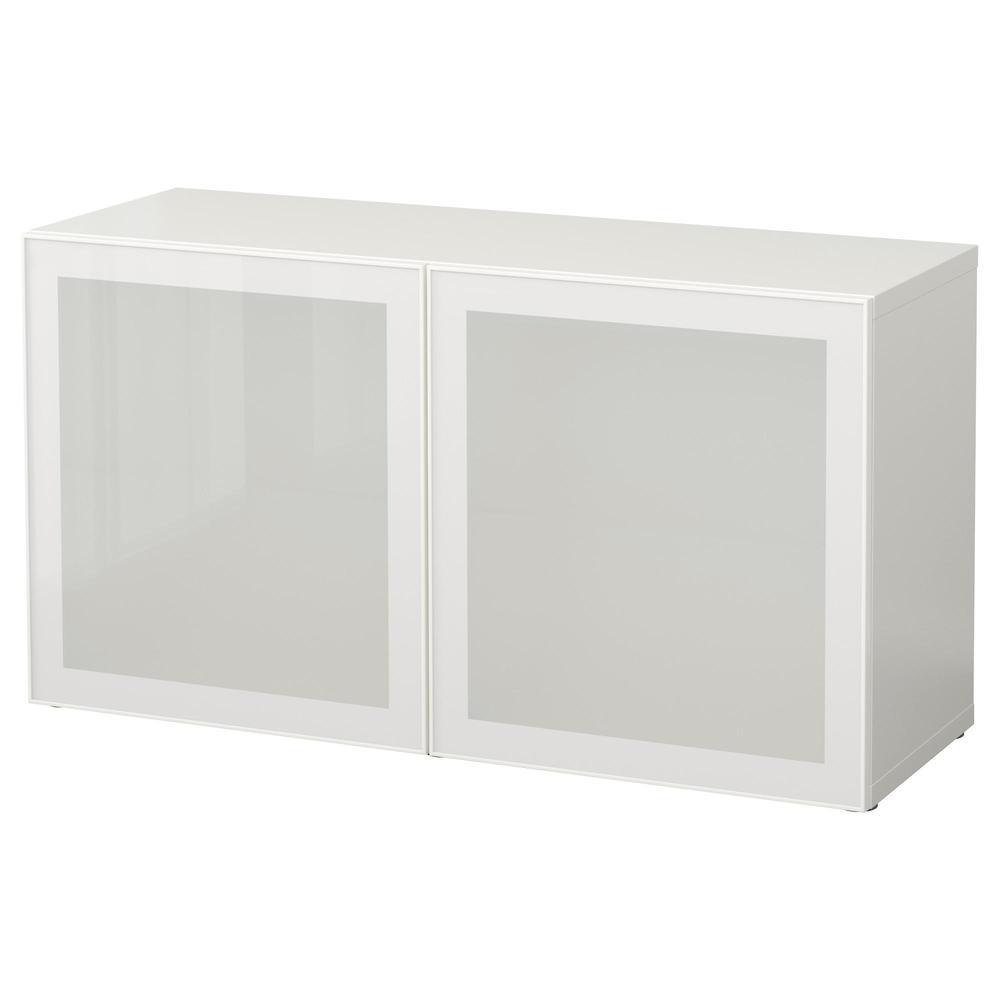 Bessto Glass Door Shelf White Glassvik White Frosted Glass