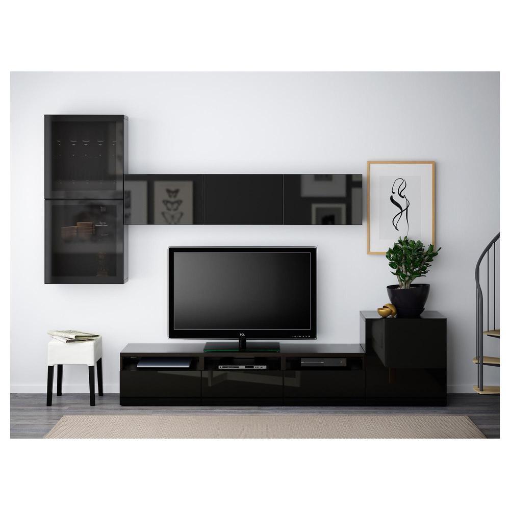 Besta Meuble Tv Combinees Portes En Verre Noir Brun Selsviken Brillant Noir Verre Fume Guides De Tiroirs Doucement Fermer
