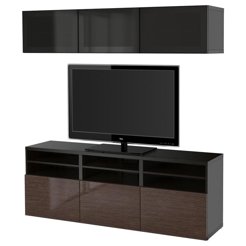 Besso Cabinet Pour Tv Combin Portes En Verre Noir Brun  # Magasin Ikea Meuble Tv Marron