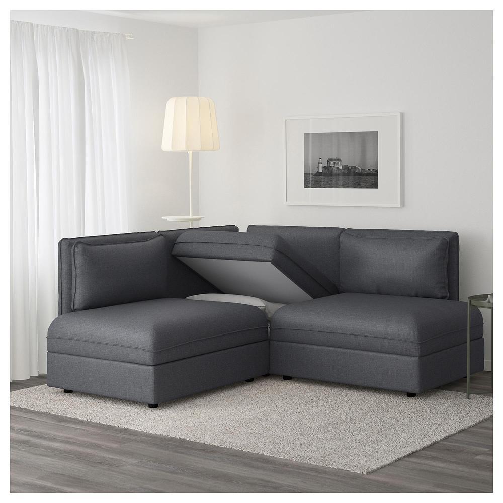 VALLENTUNA 3-divano ad angolo - Grigio scuro, Hillarered grigio ...