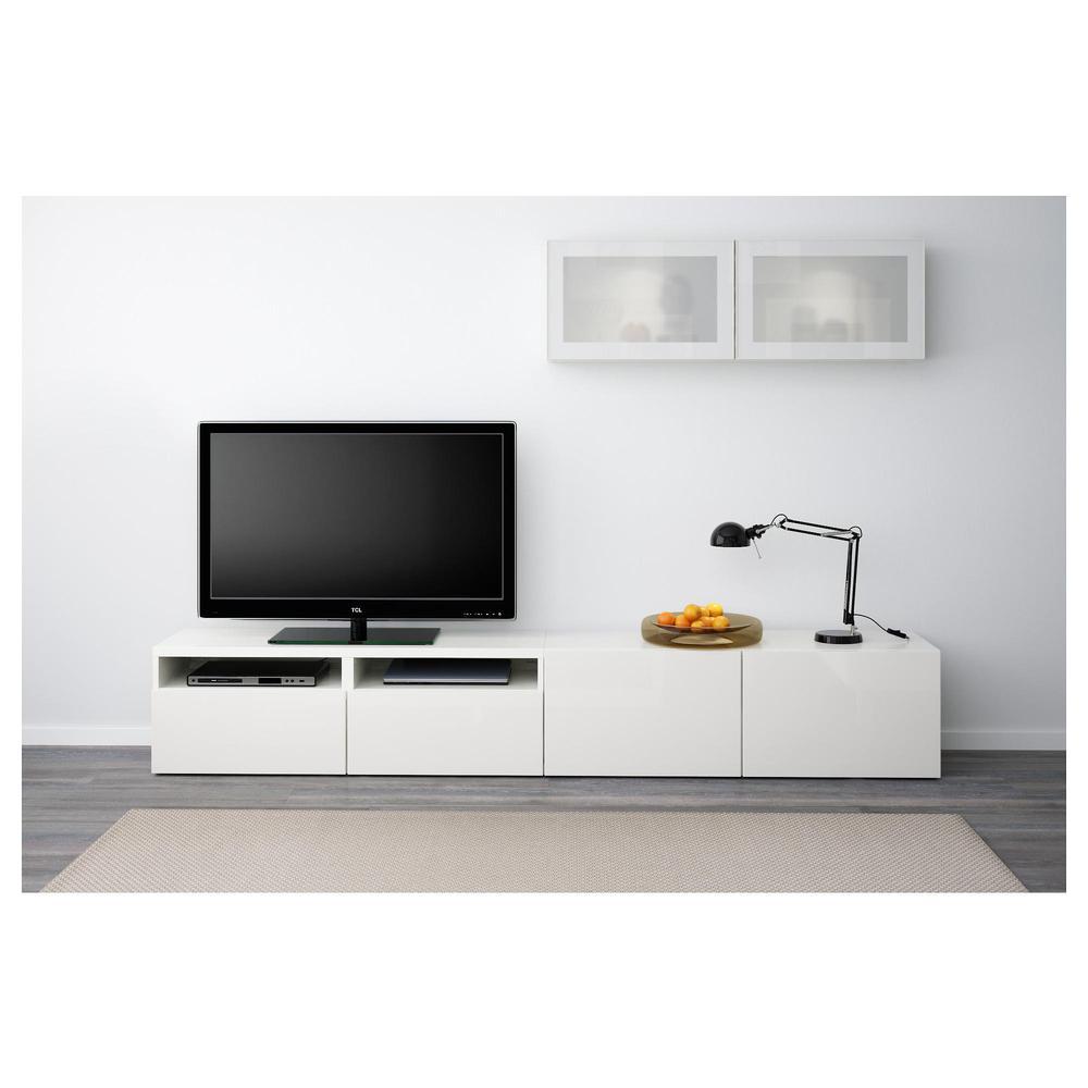 Best Meuble Tv Combin Porte En Verre Blanc Brillant  # Meuble Tv Avec Fixation