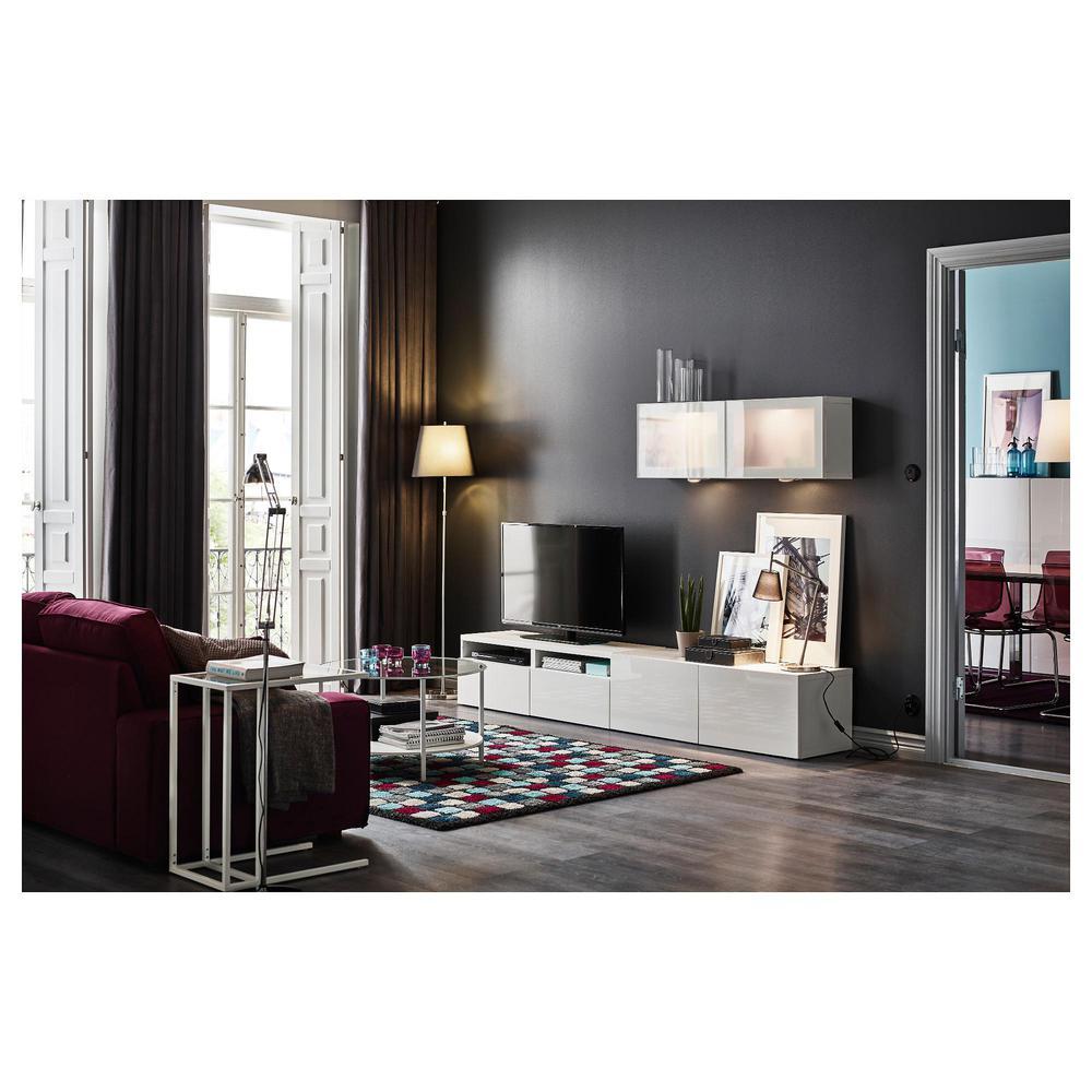 Best Meuble Tv Combin Porte En Verre Blanc Brillant  # Meuble Paroi Tv
