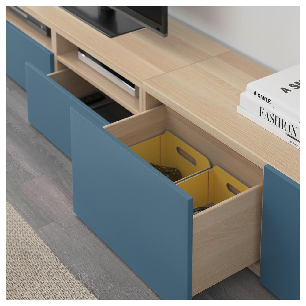 besto tv schrank kombination gebleichte eiche valviken marineblau schubladenf hrungen. Black Bedroom Furniture Sets. Home Design Ideas