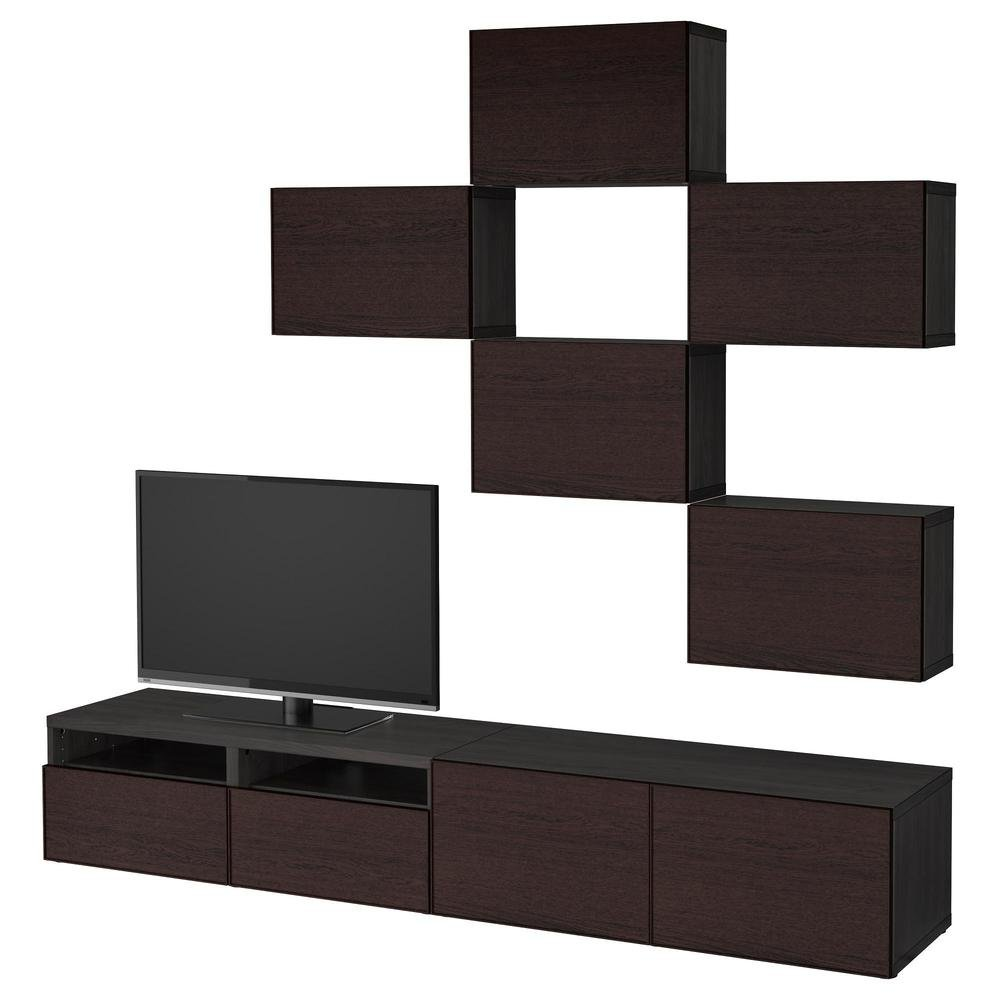 besto tv schrank kombination schwarz braun inviquen schwarz braun schubladenf hrungen. Black Bedroom Furniture Sets. Home Design Ideas