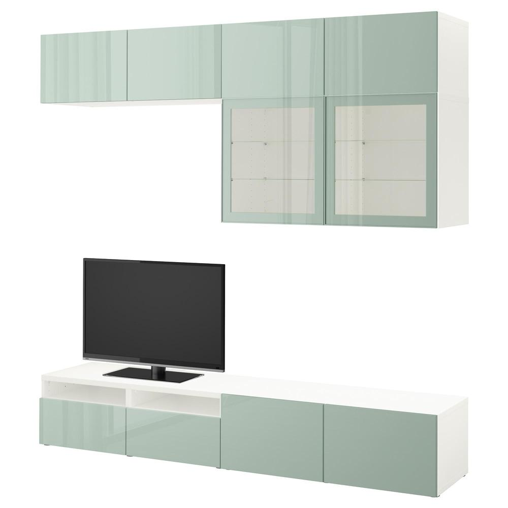 Best Meuble Tv Combin Porte En Verre Blanc Selsviken Haut  # Meuble Tv En Verre Transparent