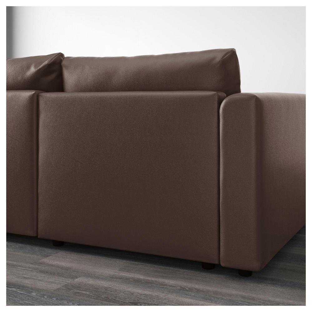 31de869dee71 ВИМЛЕ 5-местный угловой диван - с козеткой Фарста темно-коричневый ...